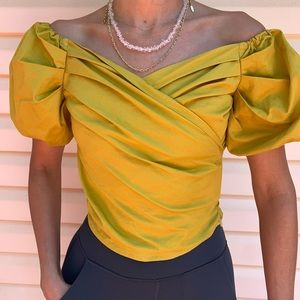 About us yellow mustard off shoulders blouse, XXS